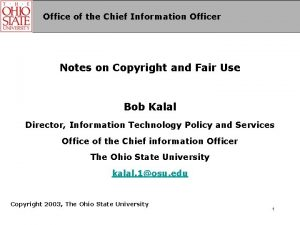 Office of the Chief Information Officer Notes on