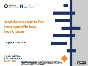 Antidepressants for nonspecific low back pain Urquhart et