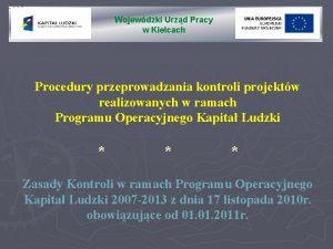 Wojewdzki Urzd Pracy w Kielcach Procedury przeprowadzania kontroli