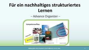 Fr ein nachhaltiges strukturiertes Lernen Advance Organizer Bildungsplan