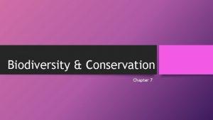 Biodiversity Conservation Chapter 7 Section 1 Vocabulary Biodiversity