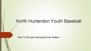 North Hunterdon Youth Baseball Plan To Reopen SpringSummer