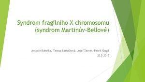Syndrom fragilnho X chromosomu syndrom MartinvBellov Antonn Bahelka