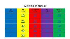 Welding Jeopardy Arc Welding MIG Welding OxyAcetylene Welding