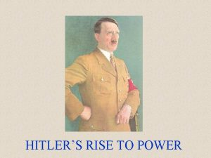 HITLERS RISE TO POWER Hitlers Youth Born in