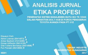 ANALISIS JURNAL ETIKA PROFESI PENERAPAN SISTEM MANAJEMEN MUTU