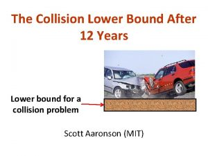 The Collision Lower Bound After 12 Years Lower