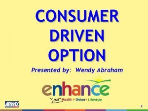 CONSUMER DRIVEN OPTION Presented by Wendy Abraham Facts