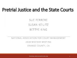 Pretrial Justice and the State Courts SUE FERRERE