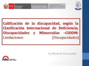 Calificacin de la discapacidad segn la Clasificacin Internacional