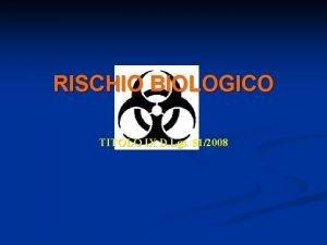 RISCHIO BIOLOGICO TITOLO IX D Lgs 812008 TITOLO