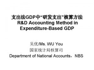 GDP RD Accounting Method in ExpenditureBased GDP Ms