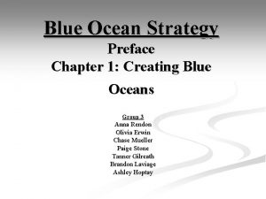 Blue Ocean Strategy Preface Chapter 1 Creating Blue