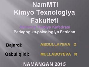 Nam MTI Kimyo Texnologiya Fakulteti Jismoniy Tarbiya Kafedrasi