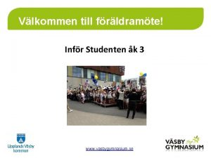 Vlkommen till frldramte Infr Studenten k 3 www