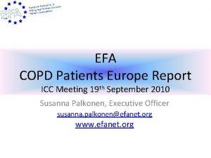 EFA COPD Patients Europe Report ICC Meeting 19