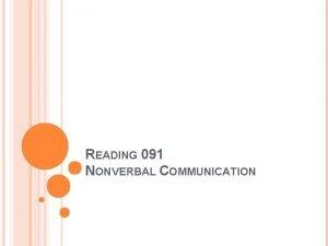 READING 091 NONVERBAL COMMUNICATION AGENDA Nonverbal Communication video