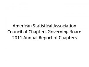 American Statistical Association Council of Chapters Governing Board