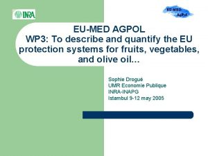 EUMED AGPOL WP 3 To describe and quantify