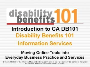 Introduction to CA DB 101 Disability Benefits 101