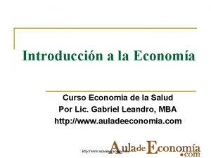 Introduccin a la Economa Curso Economa de la