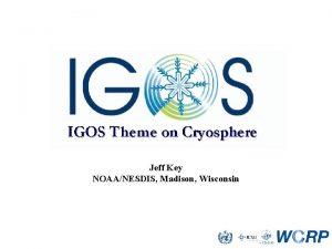 Jeff Key NOAANESDIS Madison Wisconsin IGOS Cryosphere Theme
