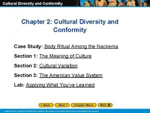 Cultural Diversity and Conformity Chapter 2 Cultural Diversity