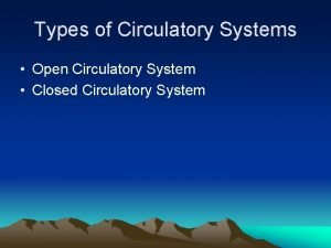 Types of Circulatory Systems Open Circulatory System Closed