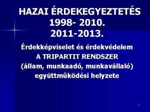 HAZAI RDEKEGYEZTETS 1998 2010 2011 2013 rdekkpviselet s