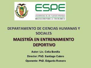 DEPARTAMENTO DE CIENCIAS HUMANAS Y SOCIALES MAESTRA EN