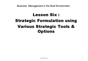 Business Management in the Built Environment Lesson Six
