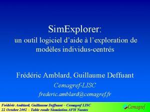 Sim Explorer un outil logiciel daide lexploration de