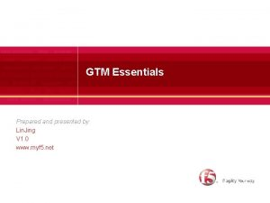 GTM Essentials Prepared and presented by Lin Jing