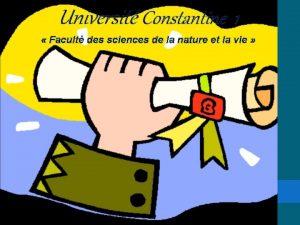 Universit Constantine 1 Facult des sciences de la