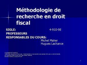 Mthodologie de recherche en droit fiscal SIGLE 4