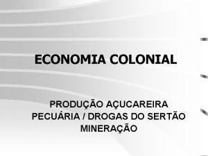 ECONOMIA COLONIAL PRODUO AUCAREIRA PECURIA DROGAS DO SERTO