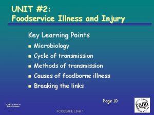 UNIT 2 Foodservice Illness and Injury Key Learning
