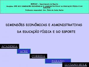 EEFEUSP Departamento de Esporte Disciplina EFE 0153 DIMENSES