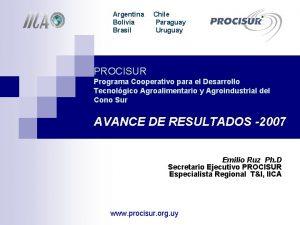 Argentina Bolivia Brasil Chile Paraguay Uruguay PROCISUR Programa