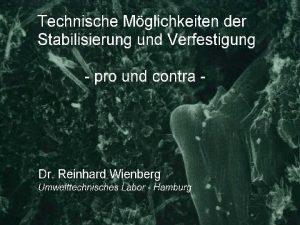 Folie 1 Dr Reinhard Wienberg Umwelttechnisches Labor Folie