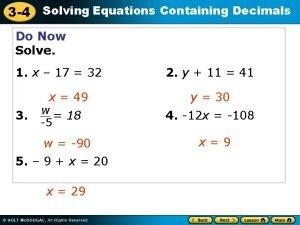 3 4 Solving Equations Containing Decimals Do Now