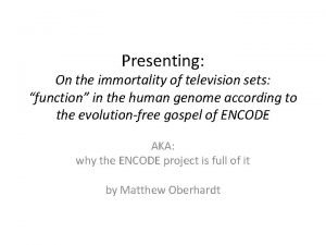 Presenting On the immortality of television sets function