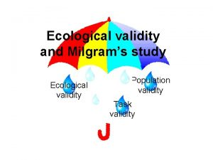 Ecological validity and Milgrams study Ecological validity Population