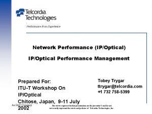 Network Performance IPOptical IPOptical Performance Management Tobey Trygar
