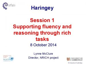 Haringey Session 1 Supporting fluency and reasoning through
