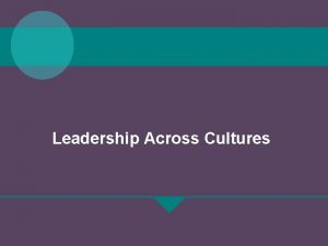 Leadership Across Cultures Chapter Objectives The specific chapter