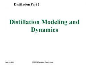 Distillation Part 2 Distillation Modeling and Dynamics April