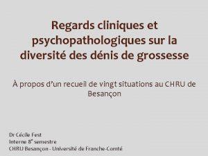 Regards cliniques et psychopathologiques sur la diversit des