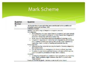 Mark Scheme Mark Scheme Economic Development and ecosystem