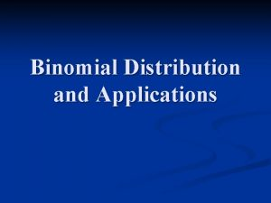 Binomial Distribution and Applications Binomial Probability Distribution A